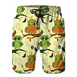 Holefg3b Bañador de Secado rápido para Hombre, bañador de Playa, Pantalones Cortos, Feliz Halloween, búhos, patrón Plano sin Costuras