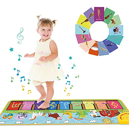 Joyjoz Kids Piano Mat with 25 Sounds, Music Dance Mat for Toddlers, Children Keyboard Mat Animal Musical Playmat for Baby Toddlers Boys Girls 1-5 Years Old (100*36cm)
