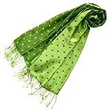 Lorenzo Cana - Sciarpa da donna di lusso Pashmina 70% seta 30% viscosa con pois intrecciati, 70 cm x 190 cm, bicolore, sciarpa da donna