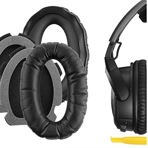 Geekria QuickFit Protein Leather Replacement Ear Pads for Bose Aviation Headset X, A10, A20 Headphones Earpads, Headset Ear Cushion Repair Parts (Black)