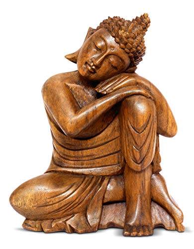 G6 Collection 8' Wooden Serene Sleeping Buddha Statue Hand Carved Sculpture Handmade Figurine Decorative Home Decor Accent Handcrafted Art Traditional Modern Decoration Sitting Resting Buddha (Small)