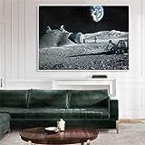 NIMCG Astronauta Astronauta Arte de la Pared Cartel de la Luna Pintura de la Lona de la Tierra Imagen Decoración Moderna Simple del hogar Arte cósmico (sin Marco) 20x30 cm