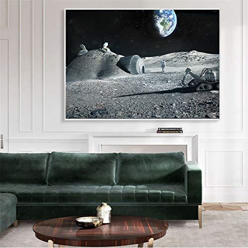 Raumfahrer Astronaut Wandkunst Mond Poster Erde Leinwand Gemälde Bild Moderne einfache Inneneinrichtung Kosmische Kunst (ohne Rahmen) 60x90CM