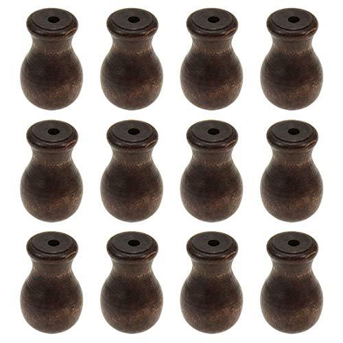 Coshar 12pcs Wood Cord Tassels,Window Blinds Shades Cord Tassels, Knobs Cord, Drops Pull End (Brown)