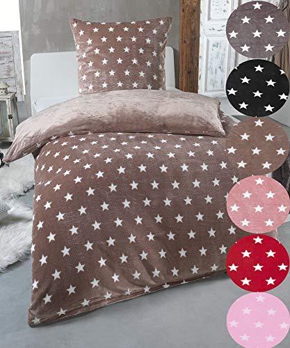 MALIKA Warme Winter Plüsch Sterne Wende-Bettwäsche Nicky-Teddy \'Cashmere Touch\' Coral Fleece viele Farben & Größen, Farbe:Taupe, Größe:200 x 200 cm