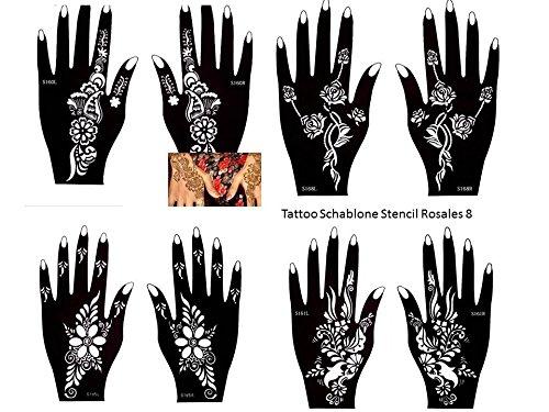Henna Tattoo sjablonen 8 stuks set voor eenmalig gebruik voor handen ook geschikt voor glitter tattoo en Air Brush Tattoo geschikt set roze