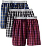Fruit of the Loom Men's Exposed Waistband Woven Boxer - Colors May Vary, Assorted, Medium(Pack of 3)