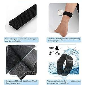IVAPPON Hook Loop Sport Watch Strap 18mm 20mm Nylon Straps Black Blue Fastening Watchband (20mm, Black(Black Plastic Buckle))