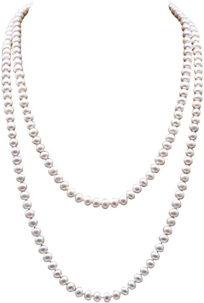 JYX JEWELRY Elegant Women Long Sweater Necklace 7-8mm Near Round Freshwater Double Strand White Pearl Necklace 48in