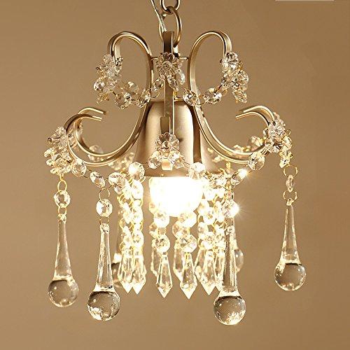 CLL-dd Amerikanische Pendelleuchte aus hochwertigem europäischem Kristall, Gold/weiß, Kronleuchter aus Eisen, Prinzessinnen-Schlafzimmer, Balkon, E27, dekorativ, Kronleuchter ORO