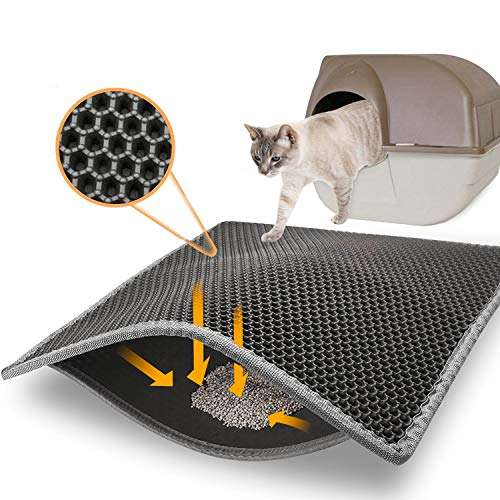 Price comparison product image Topcovos Cat Litter Mat Litter Trapping Mat,  24x18 Inch Small Double Layer Honeycomb Litter Box Mat, EVA Phthalate-Free Kitty Litter Mats for Floor, Easy Clean Scatter Control Grey
