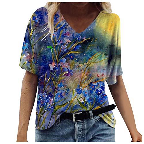 Mode T-Shirts Femme Manches Courtes 2021 été Nouveau Fleurs Animaux Impression Colorés Col V Pas Cher Haut Sexy Chic Tendance Tee Shirt Tops Tunique Blouse Casual Loose Ample Grande Taille