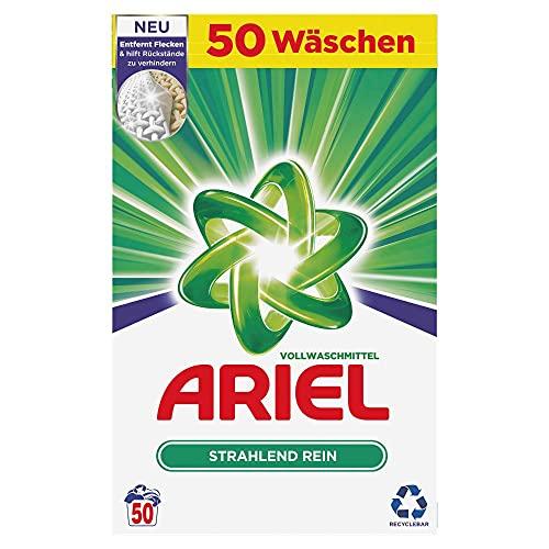 Ariel Waschmittel Pulver Waschpulver, Vollwaschmittel, 50 Waschladungen, Strahlend Rein (3.25 kg)