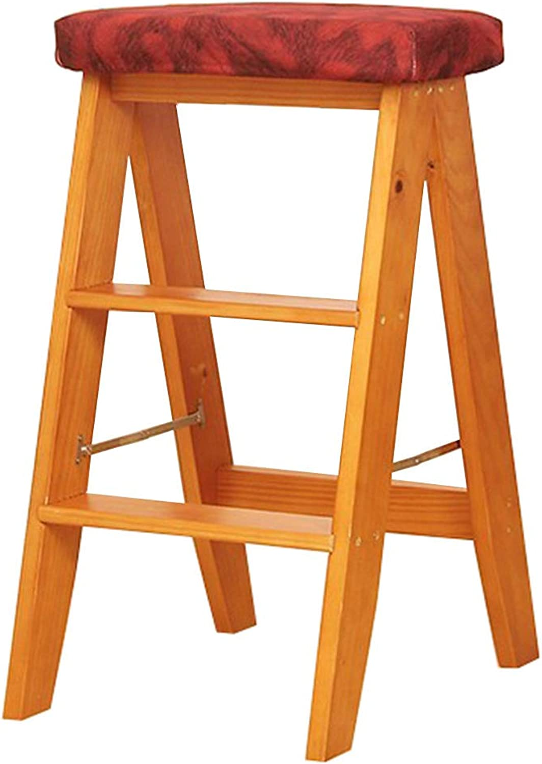High Chair Step Stool Stair Chair Seats Wooden Stepladder Detachable Cloth Cover Widened Safety Foldable Shelving Ladder Kitchen Indoor Ascend Home