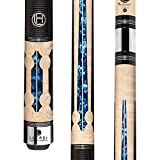 Lucasi Hybrid LHC97 Natural Birds-Eye Maple with Blue Crushed Velvet Inlays Technology Cue, 21-Ounce
