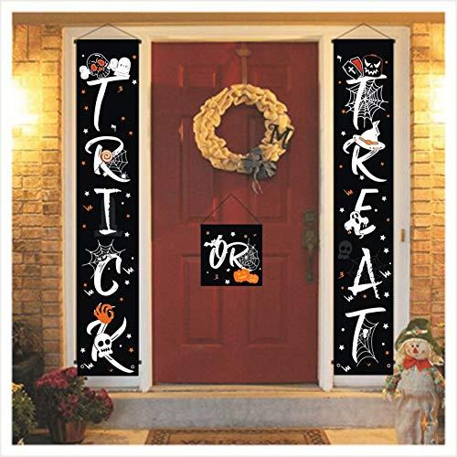 URMAGIC Halloween-Türdekoration - Binken Süßes oder Saures-Banner Halloween-Banner für Haustürdisplay, strapazierfähiges Halloween-Hängeschild für das Büro zu Hause Veranda Haustür-Halloween-Deko