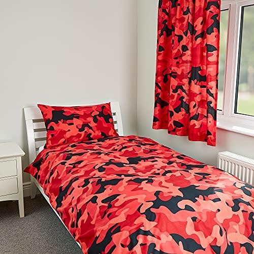 Zappi Co - Set copripiumino per letto singolo, motivo mimetico, colore: Rosso