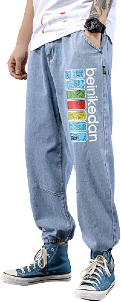 Men's Denim Casual Fashion Personality Plus Size Spring and Summer Loose Solid