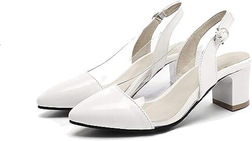 ZYNENTacón grueso tacones de moda puntiaguda sandalias de damen hebilla alto talón grueso tacón schuhe de damen transpirables schuhe