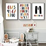 Baby Boy Custom Name Poster Letter Canvas Painting Alphabet Number Print Nursery Playroom Wall Art Pictures for Baby Room Decor40X60cmx3 No Frame