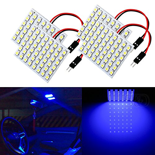 S&D 4-Pack Car Interior Bulbs 48 LED Super Bright Dome Lights Reading Door Light Panel Lights With T10 BA9S C5W Adapter 3528 Chips Blue