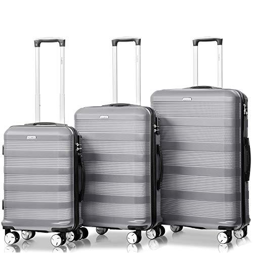 Flieks Reisekoffer Kofferset Hartschale 4 Zwillingsrollen Trolleys Gepäck Koffer 3tlg.() (Silber)