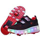 WFSH Patines de Rodillos para niños Soltero/Doble Rueda Roller Roller Skates Boys and Girls Zapatos de Rodillos al Aire Libre (Color : P, Size : 37)