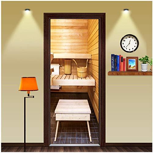 Home Decoration 3D Creatieve Eenvoudige Badkamer Houten Sauna Deur Stickers Woonkamer Badkamer Slaapkamer Badkamer Centrum DIY Waterdicht Verwijderbaar Vinyl 90x200cm