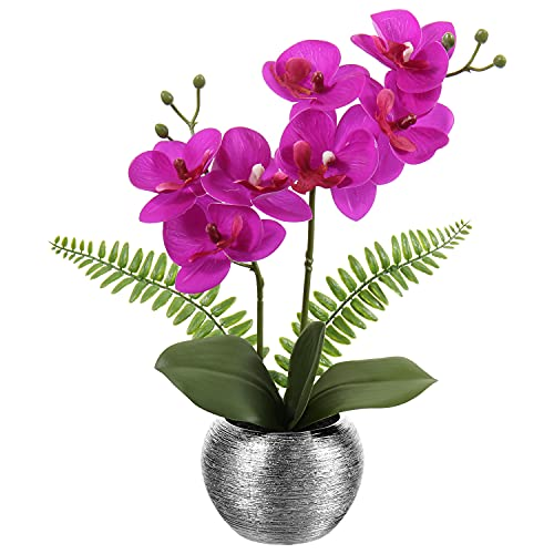 Orquídea artificial Bosai Flower Arrangement Artificial Phalaenopsis Orquídea en maceta de plata para boda, fiesta, comedor, mesa de centro de mesa