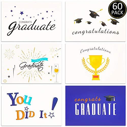 60 Piezas de Tarjetas de Graduación Tarjetas de Felicitaciones en Blanco Regalo de Congrats Tarjetas de Felicitación con Sobres para Temporada de Graduación, 6 Estilos, 5,9 x 3,9 Pulgadas