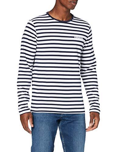 Tommy Hilfiger Herren Breton Stripe L/s Tee Hemd, Desert Sky/White, XL