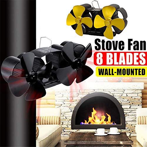 Kaminventilator, Doppelkopf-Wand-Ofenlüfter 8-flügeliger Kaminlüfter Mit Wärme versorgter Holzbrenner Eco Fan Home Effiziente Wärmeverteilung