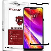 OMOTON LG G7/Plus/LG G7 ThinQ Protection D'écran Verre Trempé, Film Protecteur Complet [Couverture Complète] [Dureté 9H] et Résistant aux Rayures Noir