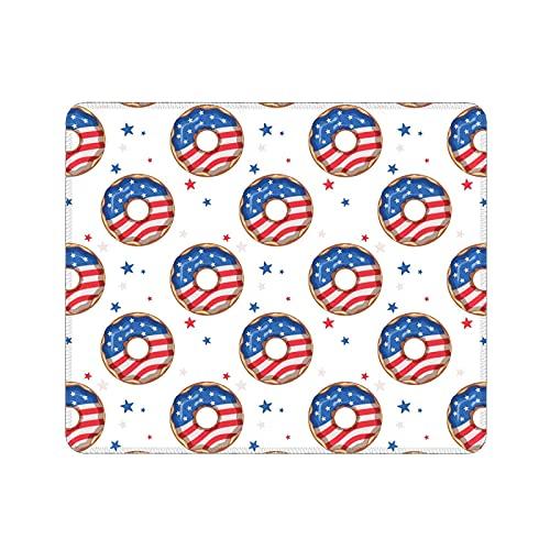 Divertente tappetino per mouse a forma di ciambella con bandiera con bordo cucito e base in gomma antiscivolo, per computer, computer portatile, ufficio e casa, 30,8 x 22,5 cm