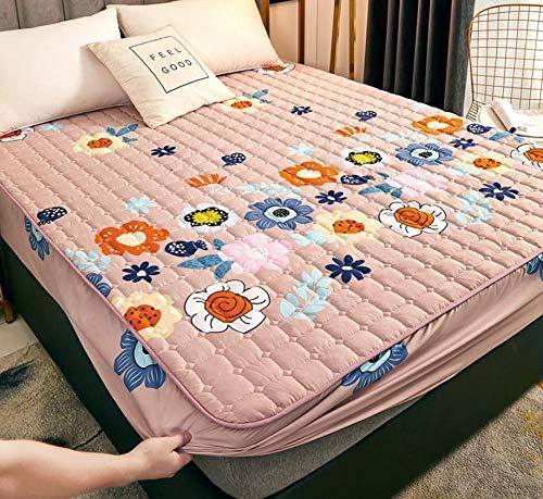 XLMHZP sabanas bajeras Ajustable,Sábana Acolchada Protector de colchón de sábana de Cama Transpirable Engrosada de una Sola Pieza para Evitar Que el Polvo decore el Dormitorio-P_90x200cm+30cm