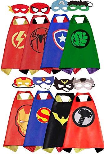 COTATERO Kids Costumes 8PCS Superhero Capes with Slap Bracelets for Boys Dress Up Party Favors (8pcs)