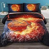Litanika Basketball Comforter Twin(66x90lnch), 2 Pieces(1 Basketball Comforter and 1 Pillowcase) 3D Sport Basketball Comforter Set Microfiber Bedding Set for Boys Kids