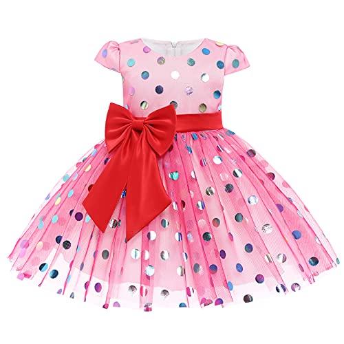 Disfraz de Minnie para Bebé Niña, Vestido de Princesa con Lazo de Tul de Tutú de Manga Corta con Lunares Vintage para Niños para Halloween Navidad Fiesta de Cumpleaños Carnaval Rosa Caliente 2-3 Años