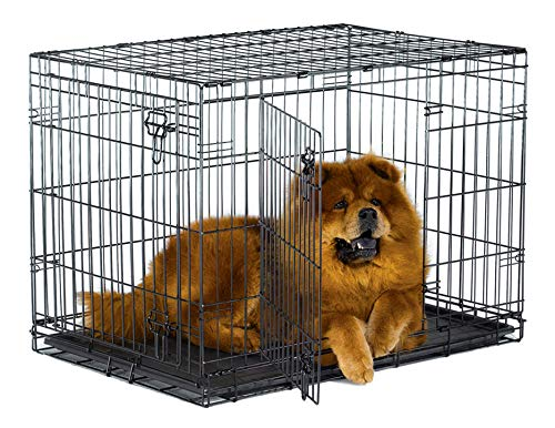 "New World 36"" Double Door Folding Metal Dog Crate, Includes Leak-Proof Plastic Tray; Dog Crate Measures 36L x 23W x 25H Inches, Fits Intermediate Dog Breeds"