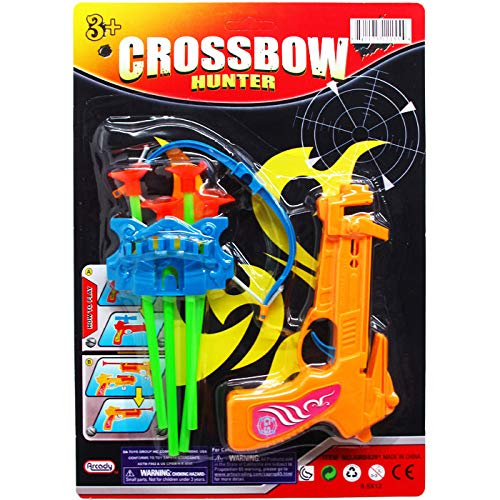 Cheap DollarItemDirect 6.5 inches Crossbow Play Set with Soft Darts on Card, 2 Assorted Colors, Case...