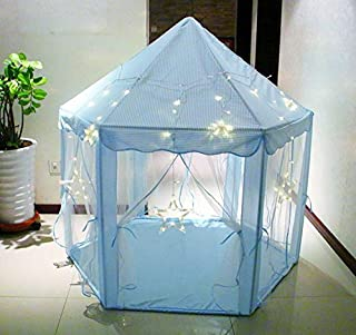 ABULU Kids Indoor/Outdoor LED Play Fairy Princess Castle Tent, Portable Fun Perfect Hexagon Large Playhouse Toys for Girls/Children/Toddlers Gift Room, X-Large, Blue