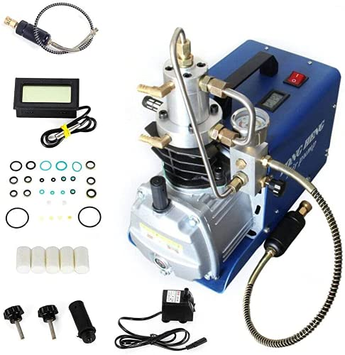 Bomba de aire de alta presión eléctrica de 300 bares, compresor de aire automático + accesorios 1500 – 4500 psi.