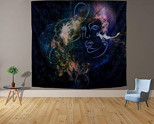 Tapiz blanco y negro Luna Estética Misterio Chakra Meditación Planeta Tapiz de pared Salón Decoración Tapiz a3 130x150cm