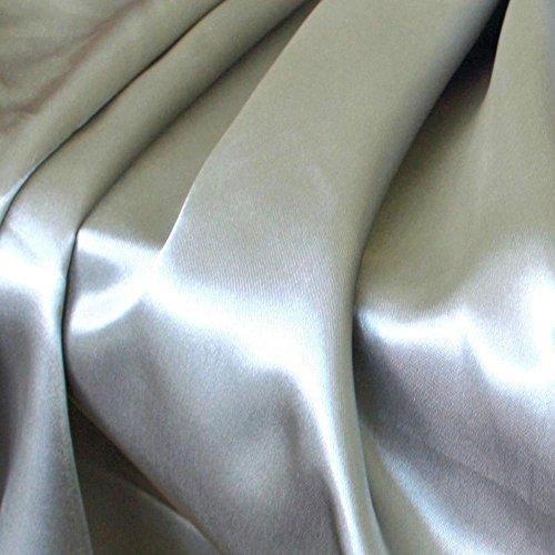 TOLKO Glanz Satin Modestoff/Deko-Stoff/Kostümstoff als Meterware zum Nähen, Dekorieren und Basteln (Silber)