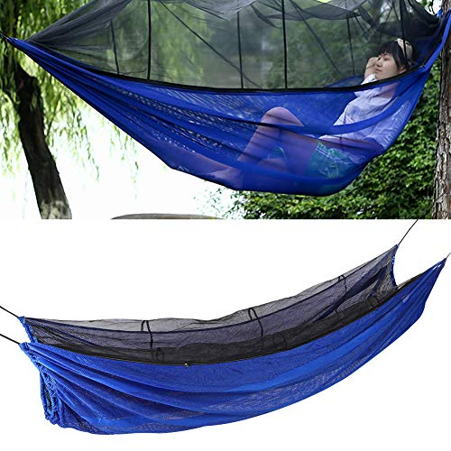 Demeras Camping hamac Simple de Haute qualité Camping léger hamac Portable Parachute Tissu Camping hamac pour Camping randonnée Sac à Dos(Blue)