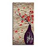 Canvas Wall Art for the End of Corridor, PIY Vertical Red Leaves Vase Picture with Brick Background, Modern Prints Artwork Aisle Decor (1' Thick, Waterproof, Bracket Mounted Ready to Hang)