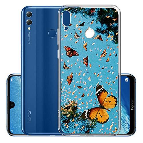 Kreative icht Durchsichtiges für Huawei Y6 2018,Klar Transparent Sparkle Bling Glitter Flexible 3D Flower Cartoon Gel Gomma TPU Ultra Dünn Slim Silikon Schutz Handy Hülle Case Tasche