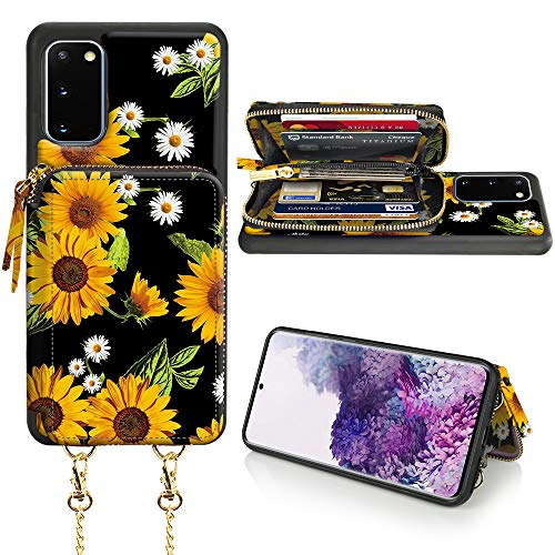 LAMEEKU Samsung Galaxy S20 Wallet Case, Samsung Galaxy S20 Card Holder Case, Sunflower Pattern Zipper Leather Case with Card Slot Strap, Protective Cover for Samsung Galaxy S20 6.2''-Sunflower