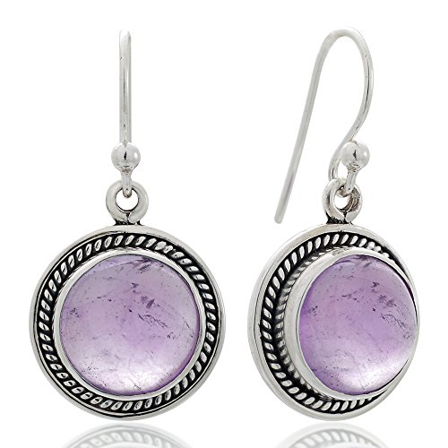 925 Oxidized Sterling Silver Natural Gemstone Round Shaped Rope Edge Dangle Hook Earrings 1.2