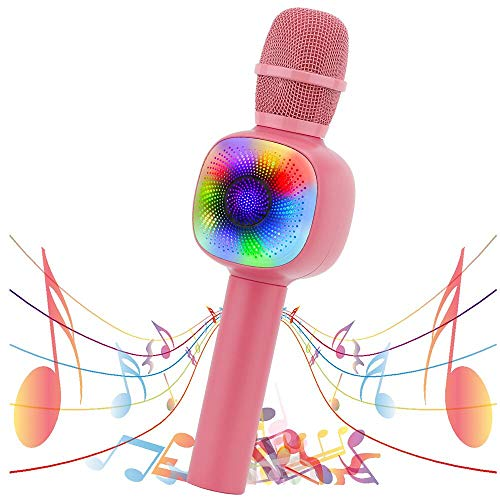 VERKB Wireless Bluetooth Karaoke Microphone, Portable Karaoke Mic Speaker with RGB Lights Party Girl Boy Toy Microphone for Kids Fit for Android/iPhone/PC(Pink)
